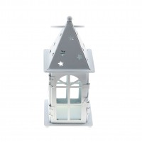 Felinar decorativ W716m metalic, alb, 7 x 7 x 17.5 cm