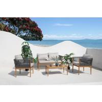 Set masa dreptunghiulara, cu 2 scaune + 1 canapea, pentru gradina Ibiza, din metal