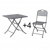 Set masa patrata, plianta, cu 4 scaune pliante, pentru gradina, din metal, cu blat sticla