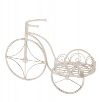 Suport ghiveci flori, bicicleta, otel, alb, 56 x 26 x 36 cm