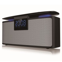 Boxa portabila activa Akai ABTS-M10, 12 W, Bluetooth, USB, Micro SD card reader, Aux in, radio FM, ceas cu alarma duala, lumina ajustabila, neagra