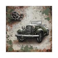 Tablou canvas F684A, Masina retro, efect 3D, panza + sasiu lemn, 100 x 100 cm