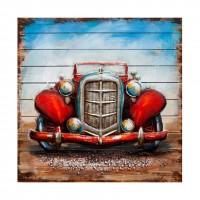 Tablou canvas W337A, Masina retro, efect 3D, panza + sasiu lemn, 91 x 91 cm