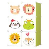 Dulap camera copii D2654G, plastic, verde + multicolor, 6 compartimente, 75 x 37 x 111 cm, 1C