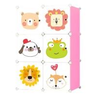 Dulap camera copii D2654P, plastic, roz + multicolor, 6 compartimente, 75 x 37 x 111 cm, 1C