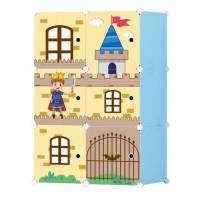 Dulap camera copii D2656B, plastic, albastru + multicolor, 6 compartimente, 75 x 37 x 111 cm, 1C