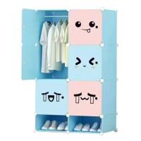 Dulap camera copii D2665B, plastic, roz + albastru, multifunctional, 75 x 37 x 129 cm, 1C