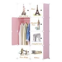 Dulap camera copii D2690P, plastic, roz + alb, 6 compartimente, 75 x 37 x 147 cm, 1C