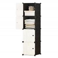 Dulap dormitor D2698L, plastic, alb + negru, 4 compartimente, 39 x 37 x 147 cm, 1C