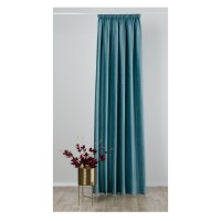 Draperie Mendola Fabrics, model Tempera, Axioma, catifea, turcoaz, opac, H 280 cm