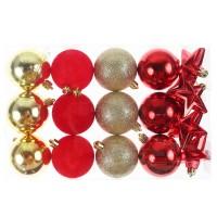 Globuri Craciun, rosu + auriu, D 6 cm, set 16 bucati, N3/XL16ARYA/M