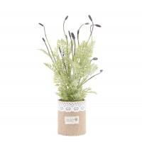 Aranjament floral artificial BH-210, panza + plastic, mov, 28 cm