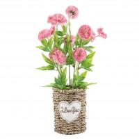 Aranjament floral artificial BH-214, panza + plastic, roz, 28 cm