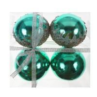 Globuri Craciun, verzi, diametru 10 cm, set 4 bucati, SD19B-10-416
