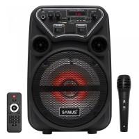Boxa portabila activa Samus Dance 6, 20 W, Bluetooth, USB, micro SD card slot, Aux in, radio FM, afisaj LED, negru, microfon, telecomanda