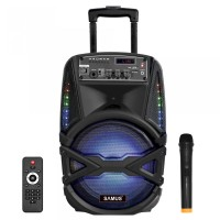 Boxa portabila activa Samus Karaoke 8, 40 W, Bluetooth, USB, micro SD card slot, Aux in, radio FM, afisaj LED, negru, microfon, telecomanda, troler inclus