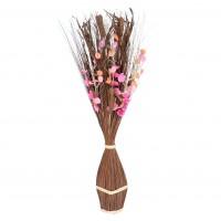 Aranjament flori uscate, AR 39929, maro + roz, H 100 cm