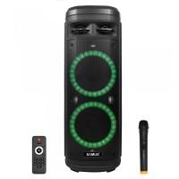 Boxa portabila activa Samus Ibiza 10, 160 W, Bluetooth, USB, micro SD card slot, Aux in, radio FM, 2 mufe intrare microfon, mufa intrare chitara, afisaj LED, lumina pe difuzor, negru, microfon, telecomanda