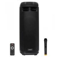 Boxa portabila activa Samus Ibiza 10, 160 W, Bluetooth, USB, micro SD card slot, Aux in, radio FM, 2 mufe intrare microfon, mufa intrare chitara, afisaj LED, negru, microfon, telecomanda