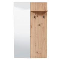Cuier hol pentru perete Sardinia CIV, cu 3 agatatori si polita, cu oglinda, stejar artisan, 790 x 195 x 1320 mm, 1C
