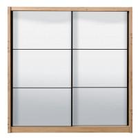 Dulap dormitor Navara 215, stejar artisan, 2 usi glisante, cu oglinzi, 213 x 60 x 215.5 cm, 7C