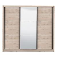 Dulap dormitor Navara 245, stejar gri, 3 usi glisante, cu oglinda, 242 x 60 x 215.5 cm, 9C