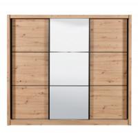 Dulap dormitor Navara 245, stejar artisan, 3 usi glisante, cu oglinda, 242 x 60 x 215.5 cm, 9C