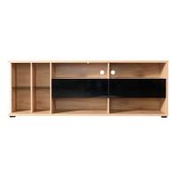 Comoda TV Alicante, stejar artisan + sticla gri inchis, 187.5 x 40 x 67 cm, 2C