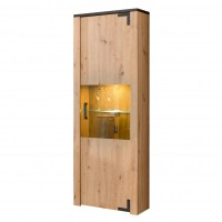 Vitrina living Lazio 1K VS, cu lumini, stejar artisan, 63.5 x 36 x 190 cm, 3C