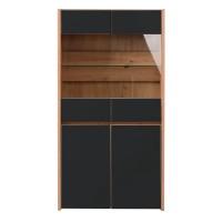 Vitrina living Molise 2K VS2, stejar artisan + sticla vopsita negru, 85 x 40 x 160 cm, 3C