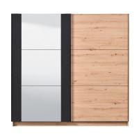 Dulap dormitor Sardinia 220, stejar artisan + negru, 2 usi glisante, cu oglinda, 217 x 62.5 x 210 cm, 8C
