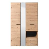 Dulap dormitor Leon 3K2FO, stejar artisan, 3 usi, cu oglinda, 127.5 x 54 x 205.5 cm, 3C