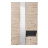 Dulap dormitor Leon 3K2FO, stejar gri, 3 usi, cu oglinda, 127.5 x 54 x 205.5 cm, 3C