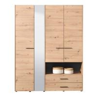 Dulap dormitor Leon 4K2FO, stejar artisan, 4 usi, cu oglinda, 161 x 54 x 205.5 cm, 4C