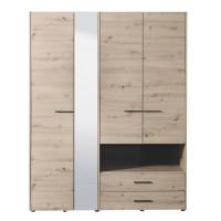 Dulap dormitor Leon 4K2FO, stejar gri, 4 usi, cu oglinda, 161 x 54 x 205.5 cm, 4C