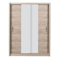 Dulap dormitor Montana 165, stejar gri + alb mat, 2 usi glisante, 166 x 60 x 215.5 cm, 5C