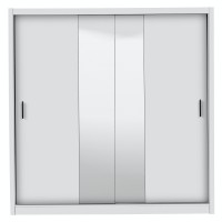 Dulap dormitor Montana 215, alb mat, 2 usi glisante, cu oglinda, 213 x 60 x 215.5 cm, 6C