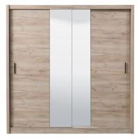 Dulap dormitor Montana 215, stejar gri, 2 usi glisante, cu oglinda, 213 x 60 x 215.5 cm, 6C
