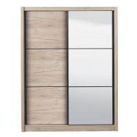Dulap dormitor Navara 165, stejar gri, 2 usi glisante, cu oglinda, 166 x 60 x 215.5 cm, 7C