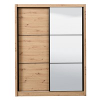 Dulap dormitor Navara 165, stejar artisan, 2 usi glisante, cu oglinda, 166 x 60 x 215.5 cm, 7C