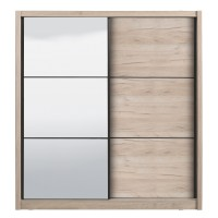 Dulap dormitor Navara 215, stejar gri, 2 usi glisante, cu oglinda, 213 x 60 x 215.5 cm, 7C