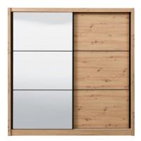 Dulap dormitor Navara 215, stejar artisan, 2 usi glisante, cu oglinda, 213 x 60 x 215.5 cm, 7C