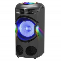 Boxa portabila activa Akai DJ-BY4L, 120 W, Bluetooth, USB, SD card slot, Aux in, radio FM, intrare microfon, sistem player dual, lumini disco pentru tavan + lumini difuzor, functie karaoke, negru, microfon, telecomanda