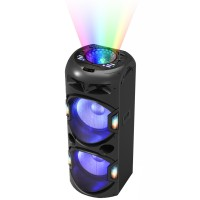 Sistem audio Akai DJ-Y5L, 1 boxa activa, 350 W, Bluetooth, USB, SD card slot, Aux in, radio FM, intrare microfon, sistem player dual, lumini disco pentru tavan + lumini difuzor, functie karaoke, negru, microfon, telecomanda