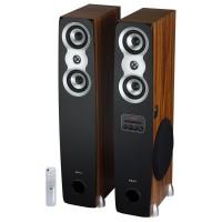 Sistem audio Akai SS060A-438, 2 boxe active, 60 W, Bluetooth, USB, Aux in, radio FM, intrare microfon, functie karaoke, maro + negru, telecomanda