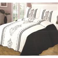 Cuvertura de pat + 2 fete de perna + 2 perne, microfibra, alb / negru, 230 x 250 cm