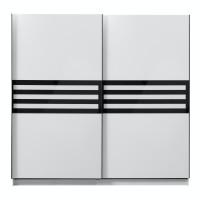 Dulap dormitor Galicia 220, alb mat + sticla neagra, 2 usi glisante, 217 x 62.5 x 210 cm, 8C