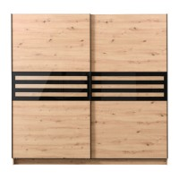 Dulap dormitor Galicia 220, stejar artisan + sticla neagra, 2 usi glisante, 217 x 62.5 x 210 cm, 8C