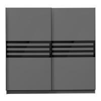 Dulap dormitor Galicia 220, gri grafit + sticla neagra, 2 usi glisante, 217 x 62.5 x 210 cm, 8C