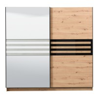 Dulap dormitor Galicia 220, stejar artisan + sticla neagra, 2 usi glisante, cu oglinda, 217 x 62.5 x 210 cm, 8C